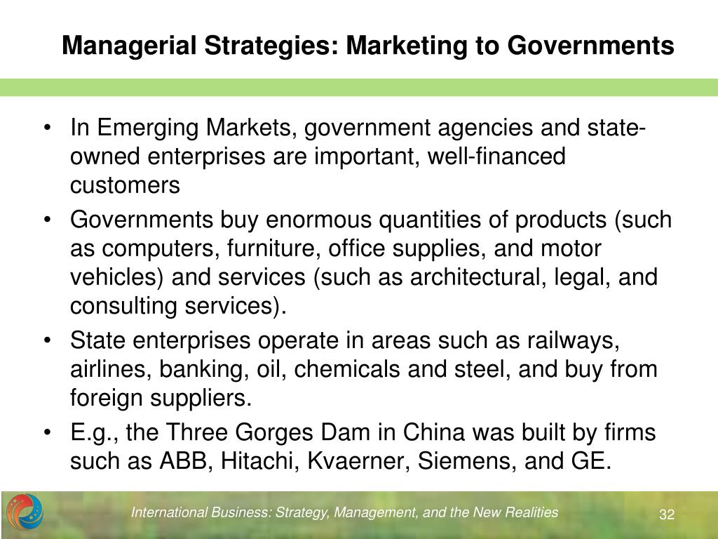 Managerial Strategies: Marketing to Governments