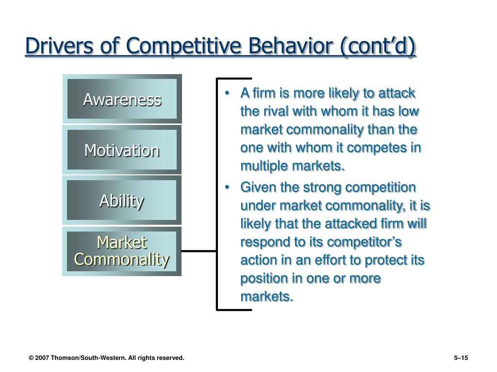 A firm is more likely to attack the rival with whom it has low market commonality than the one with whom it competes in multiple markets.