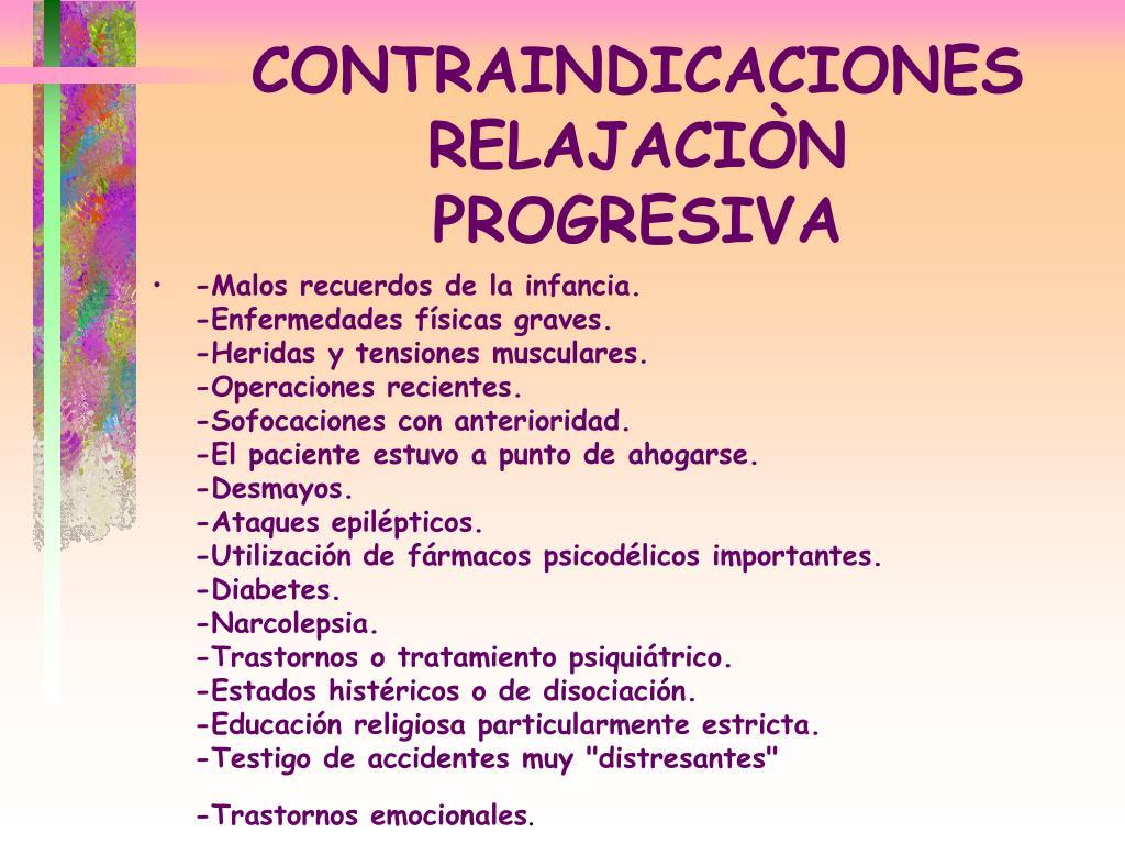 CONTRAINDICACIONES RELAJACIÒN
