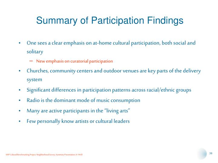 Summary of Participation Findings