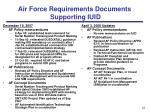 air force requirements documents supporting iuid