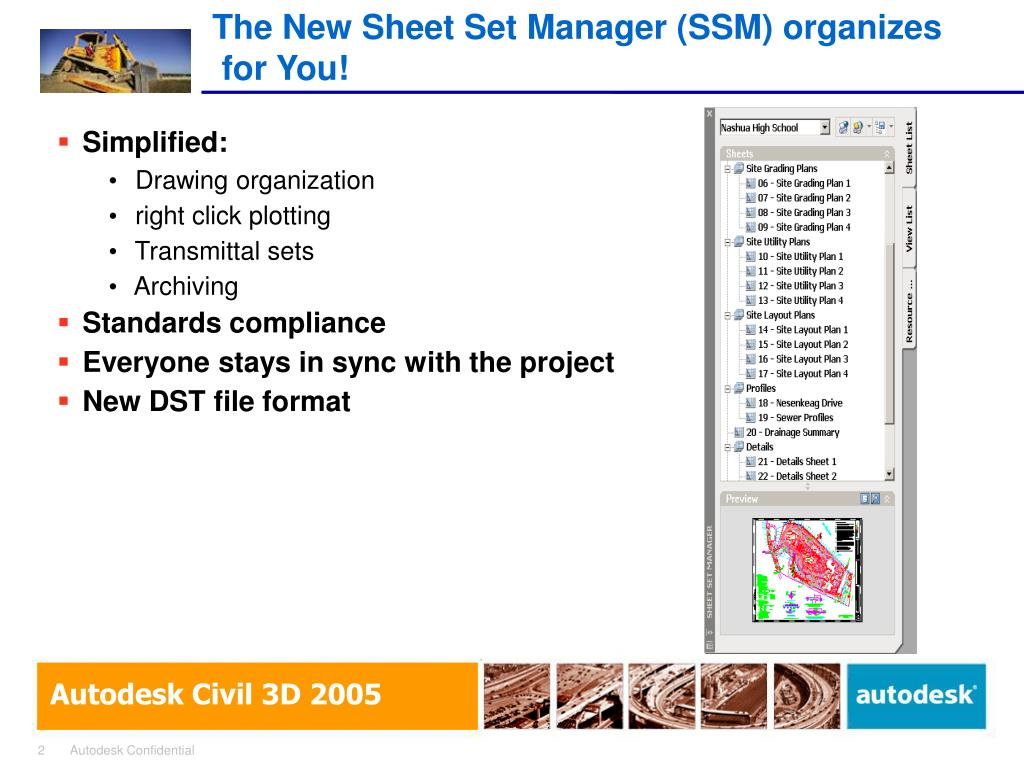 The New Sheet Set Manager (SSM) organizes