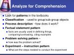 analyze for comprehension