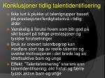 konklusjoner tidlig talentidentifisering