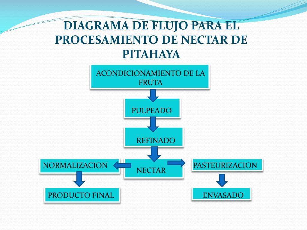DIAGRAMA DE FLUJO PARA EL PROCESAMIENTO DE NECTAR DE PITAHAYA
