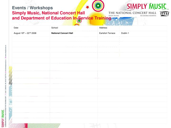 Events workshops simply music national concert hall and department of education in service training
