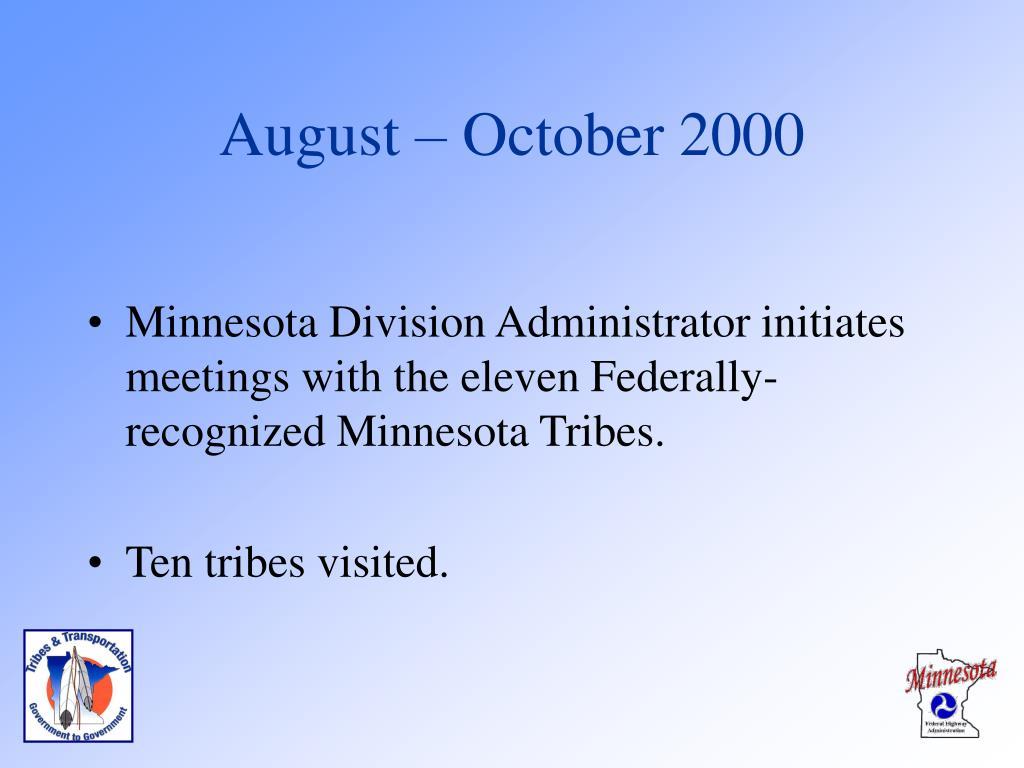 August – October 2000
