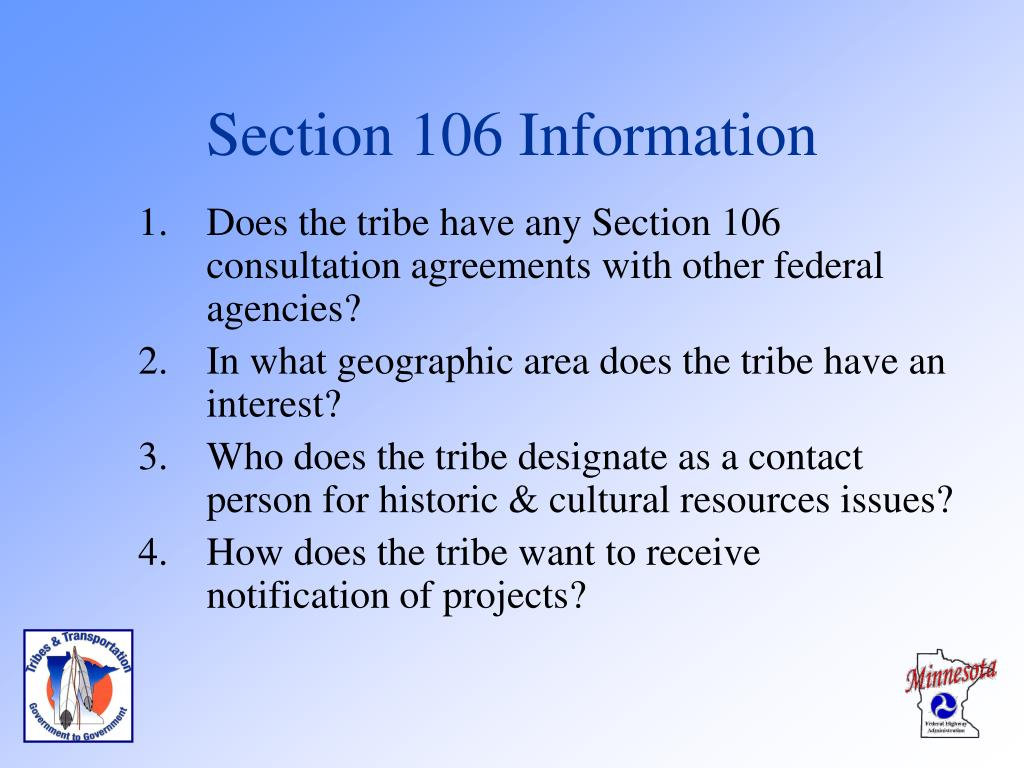 Section 106 Information