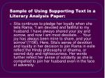 sample of using supporting text in a literary analysis paper