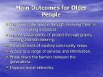 main outcomes for older people