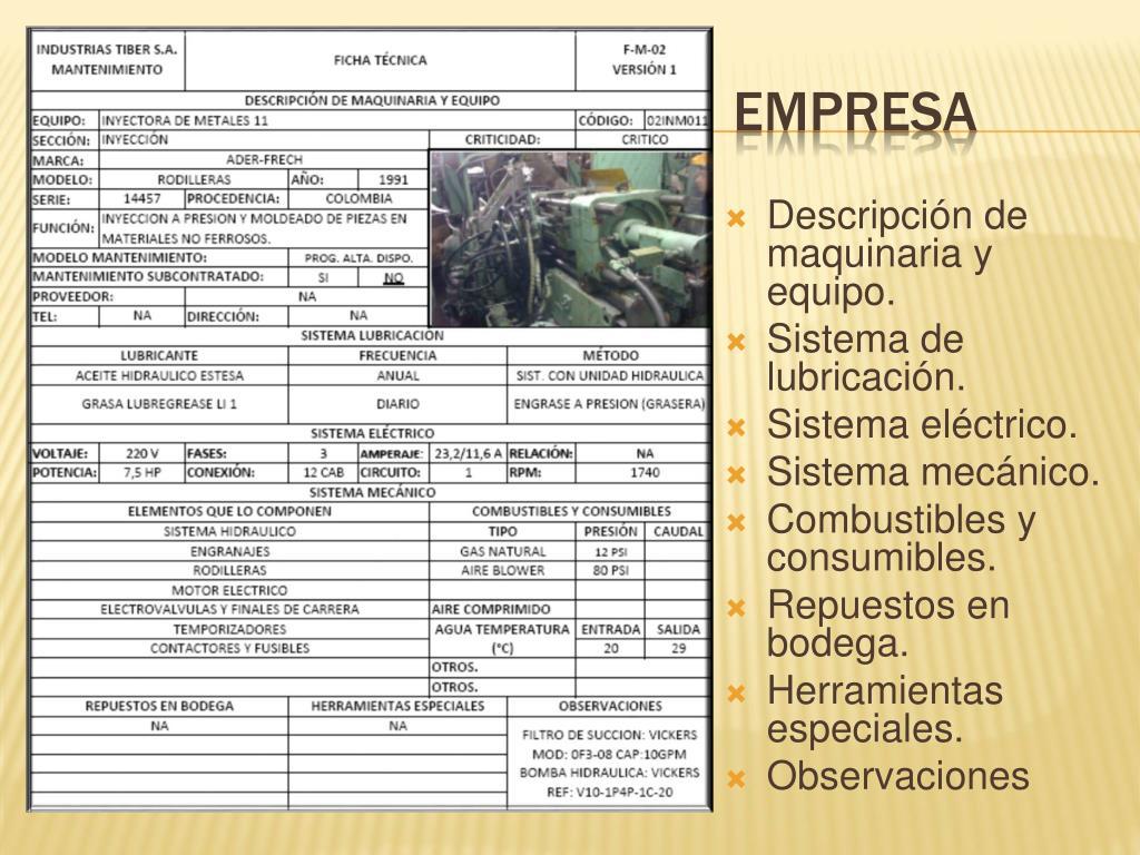 Descripción de maquinaria y equipo.