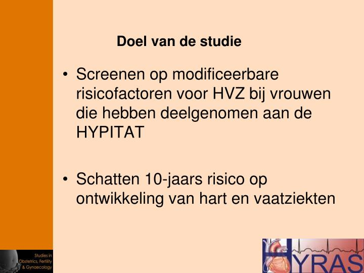 Screenen op modificeerbare risicofactoren voor HVZ bij vrouwen die hebben deelgenomen aan de HYPITAT