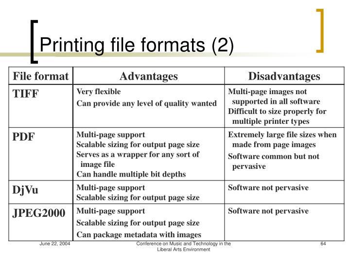Printing file formats (2)