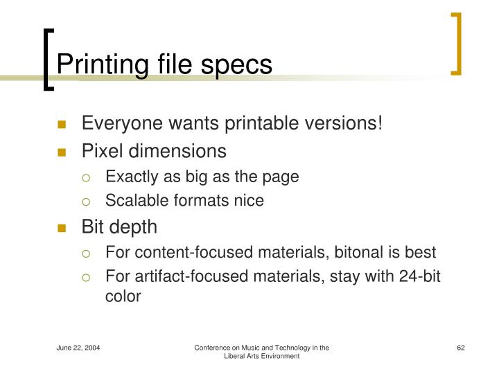 Printing file specs
