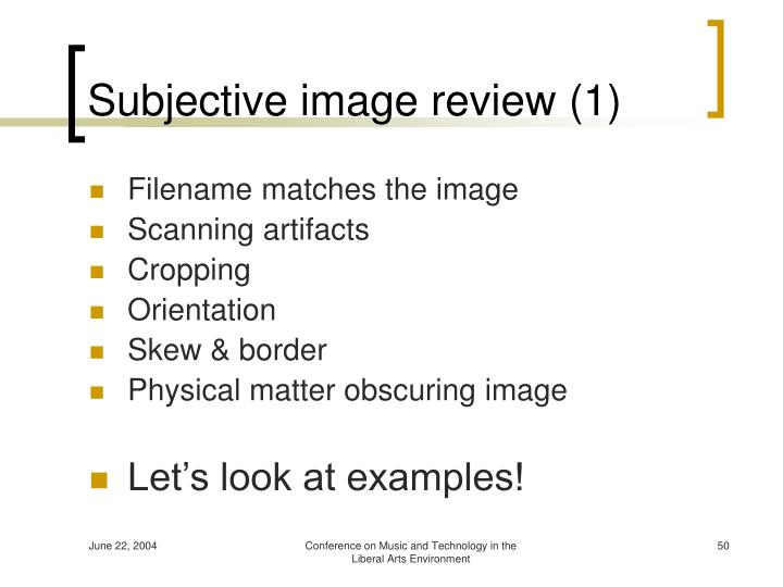 Subjective image review (1)