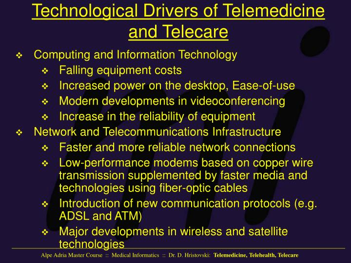 Technological Drivers of Telemedicine and Telecare