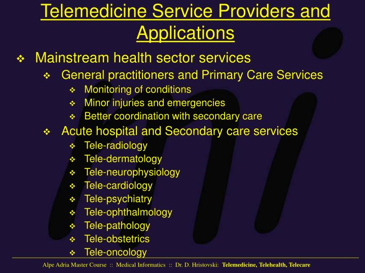 Telemedicine Service Providers and Applications