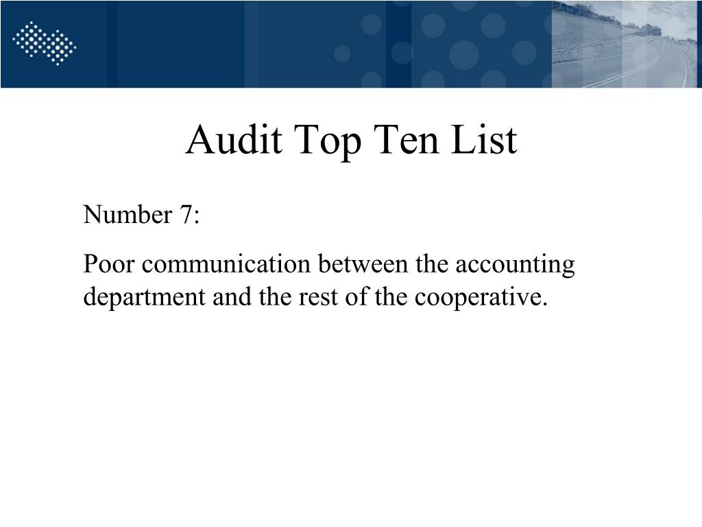 Audit Top Ten List