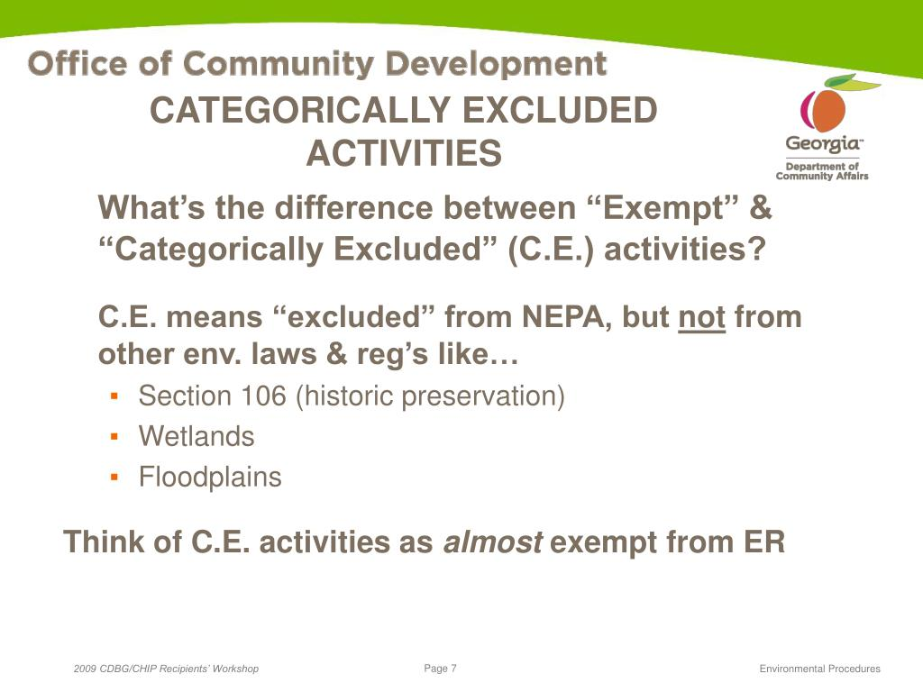 CATEGORICALLY EXCLUDED ACTIVITIES