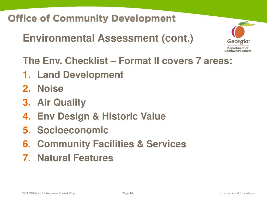 Environmental Assessment (cont.)
