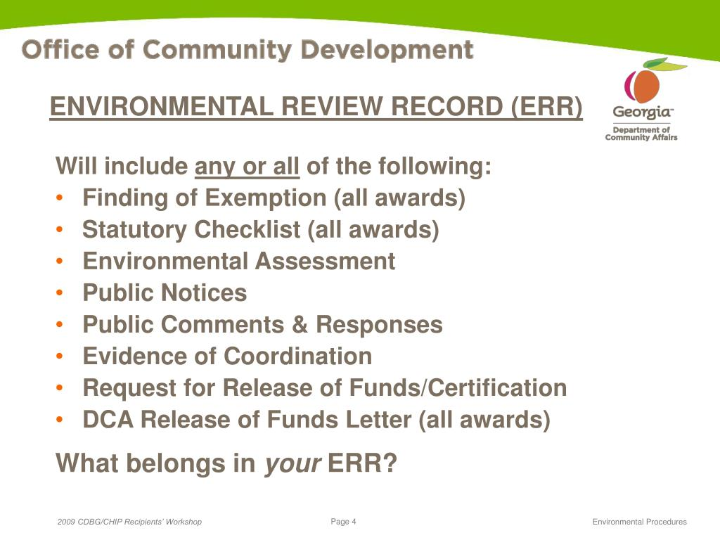 ENVIRONMENTAL REVIEW RECORD (ERR)