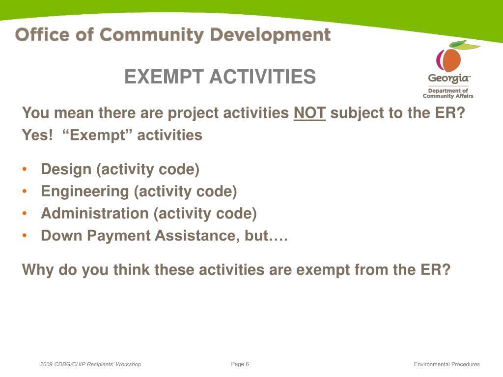 EXEMPT ACTIVITIES