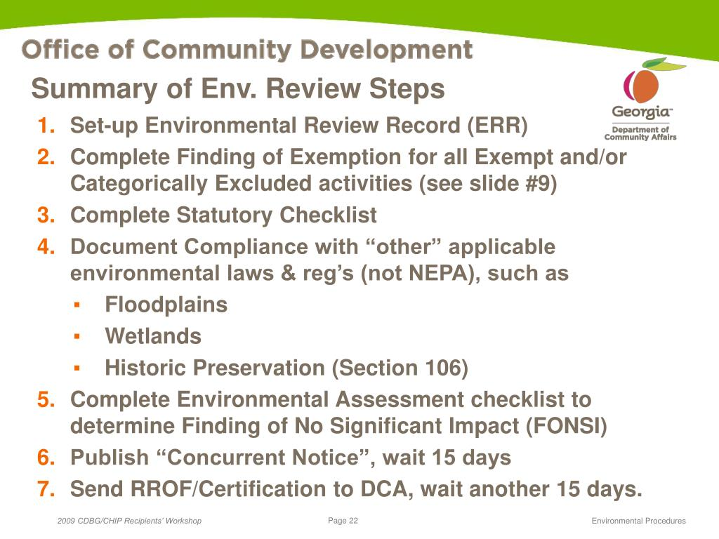 Summary of Env. Review Steps