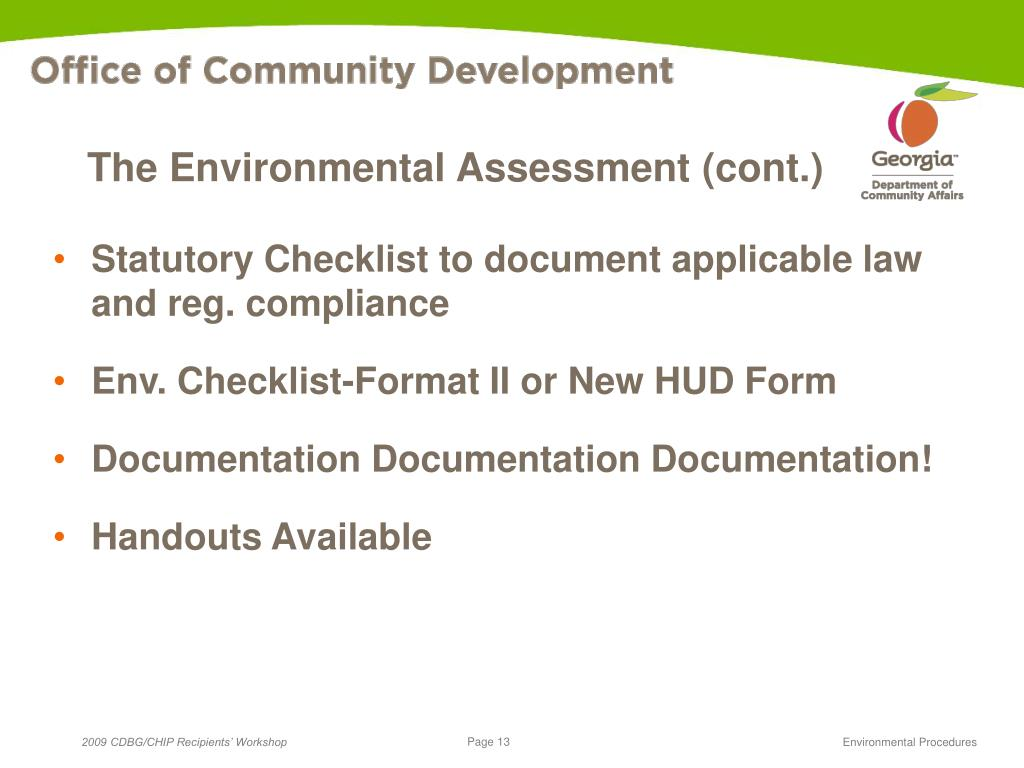 The Environmental Assessment (cont.)