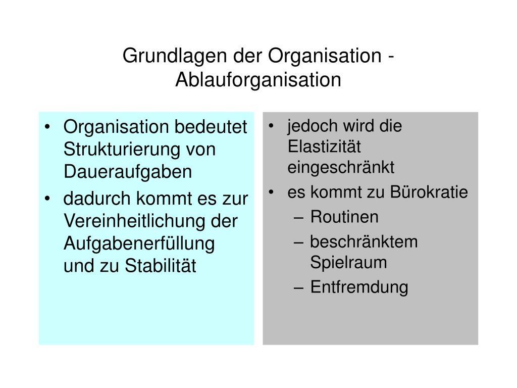 Organisation bedeutet Strukturierung von Daueraufgaben