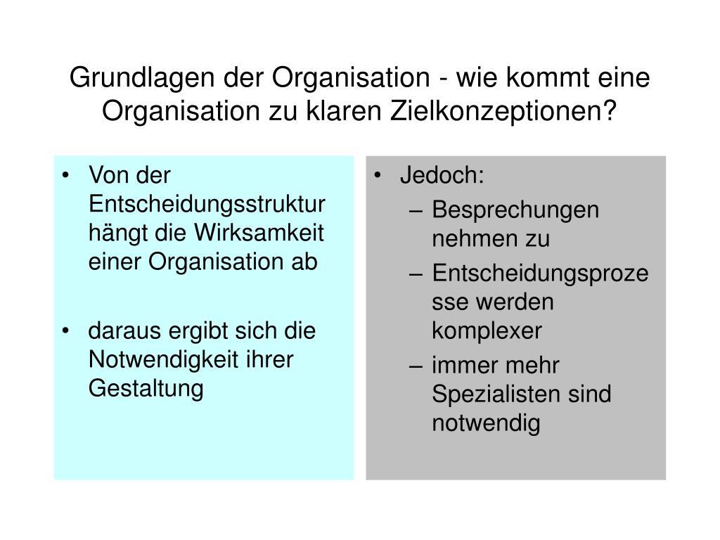 Von der Entscheidungsstruktur hängt die Wirksamkeit einer Organisation ab