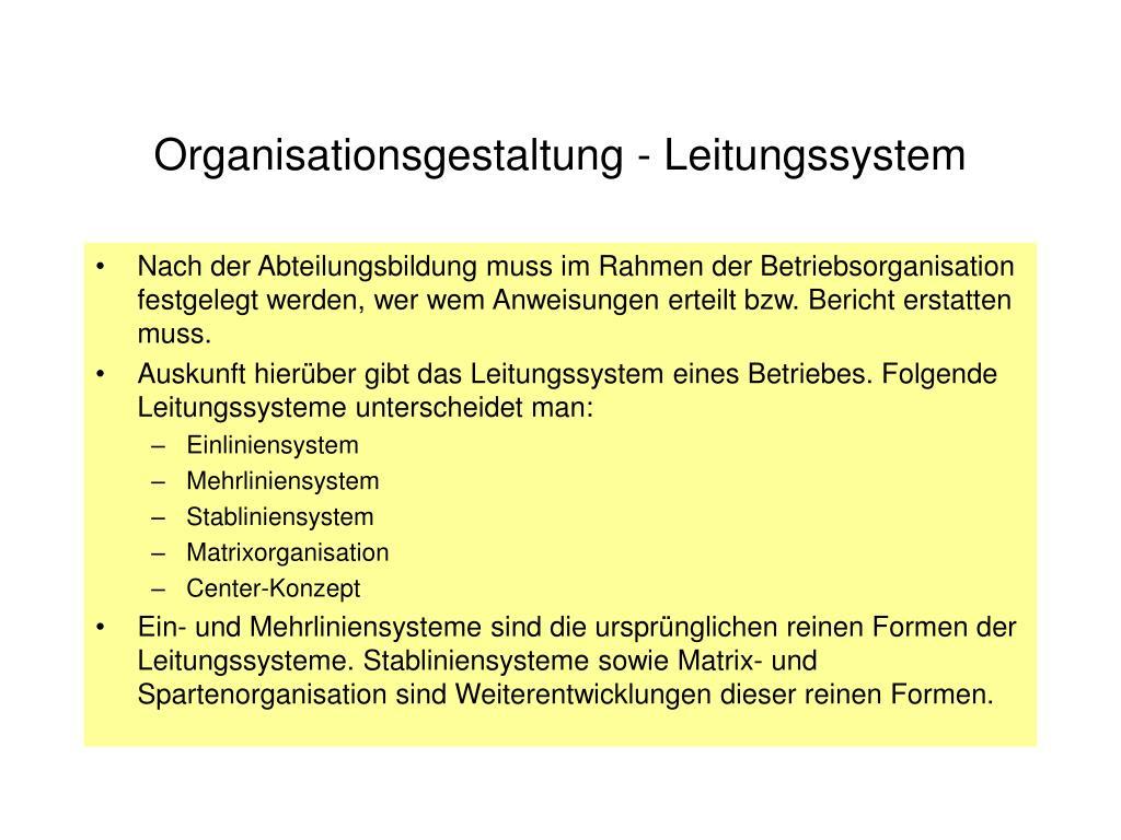 Organisationsgestaltung - Leitungssystem