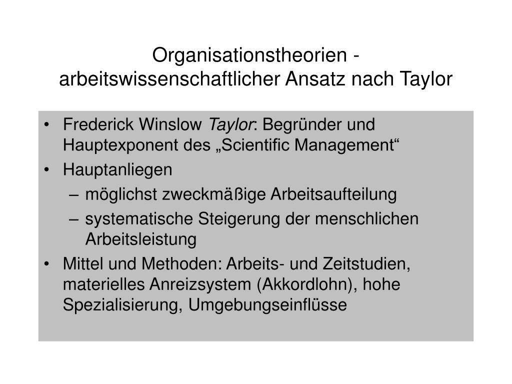 Organisationstheorien - arbeitswissenschaftlicher Ansatz nach Taylor