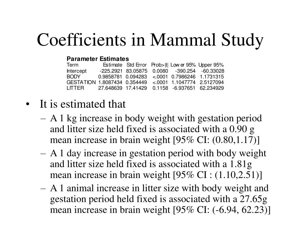 Coefficients in Mammal Study