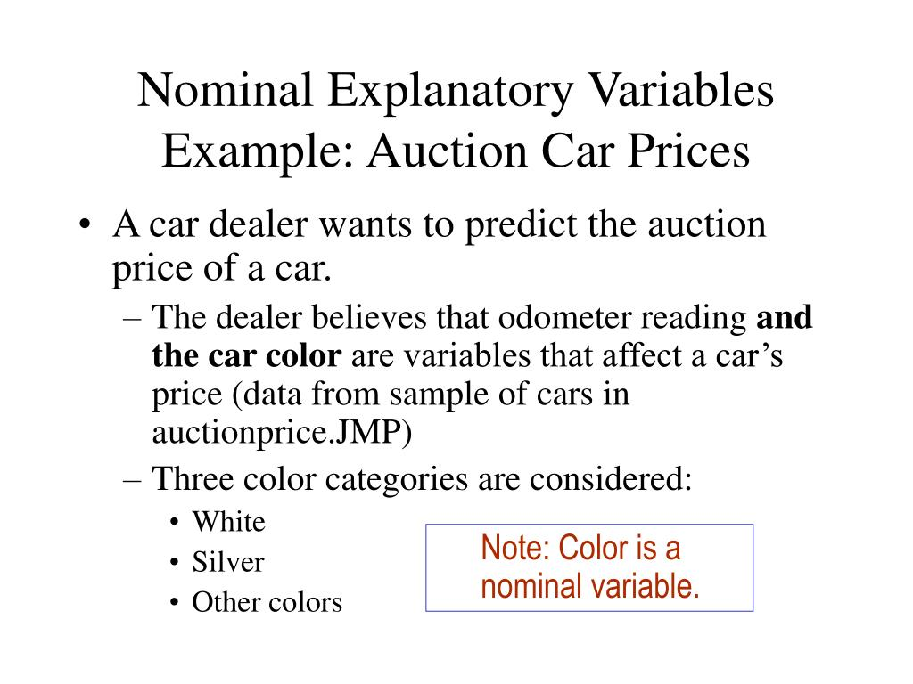 Nominal Explanatory Variables Example: Auction Car Prices