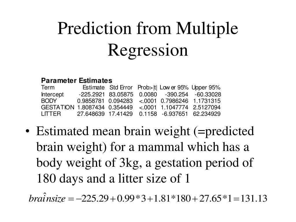 Prediction from Multiple Regression