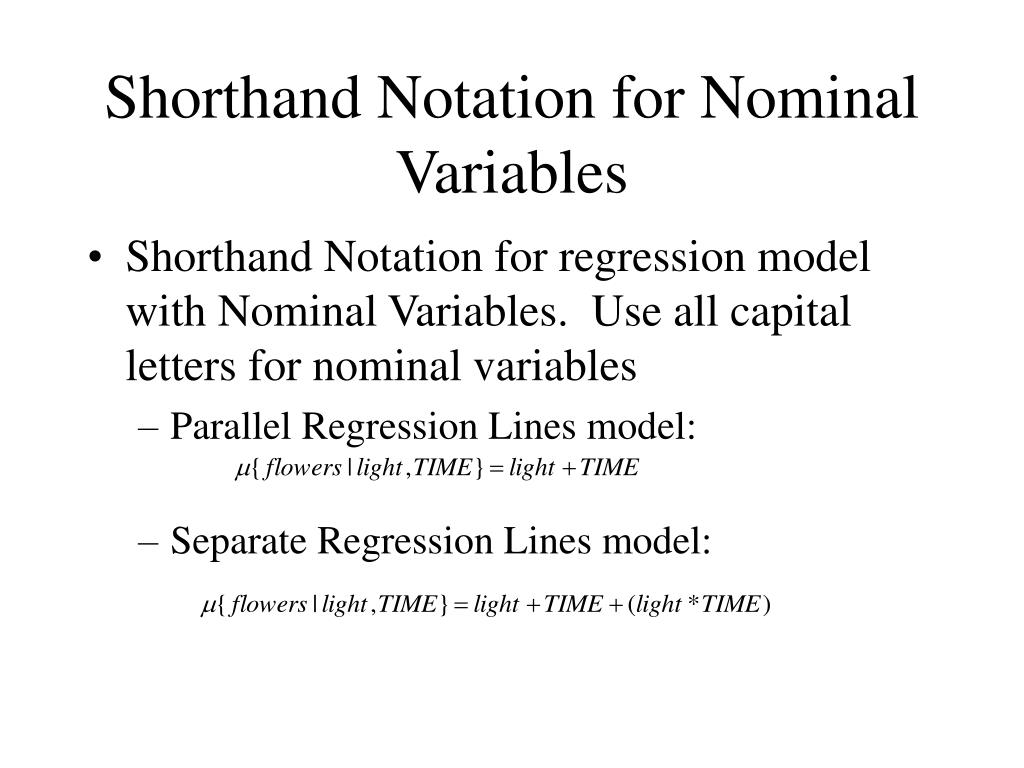 Shorthand Notation for Nominal Variables