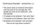 continuous example arrival time con t15