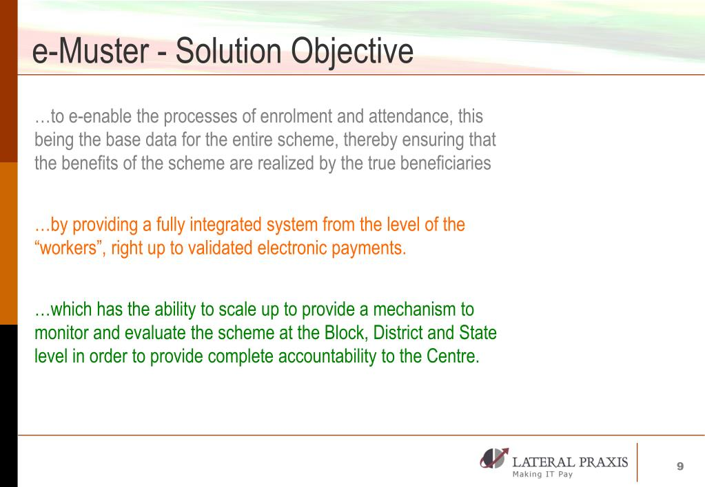 e-Muster - Solution Objective