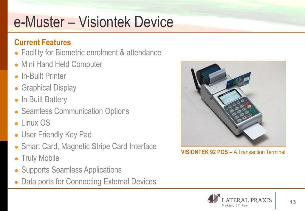 e-Muster – Visiontek Device