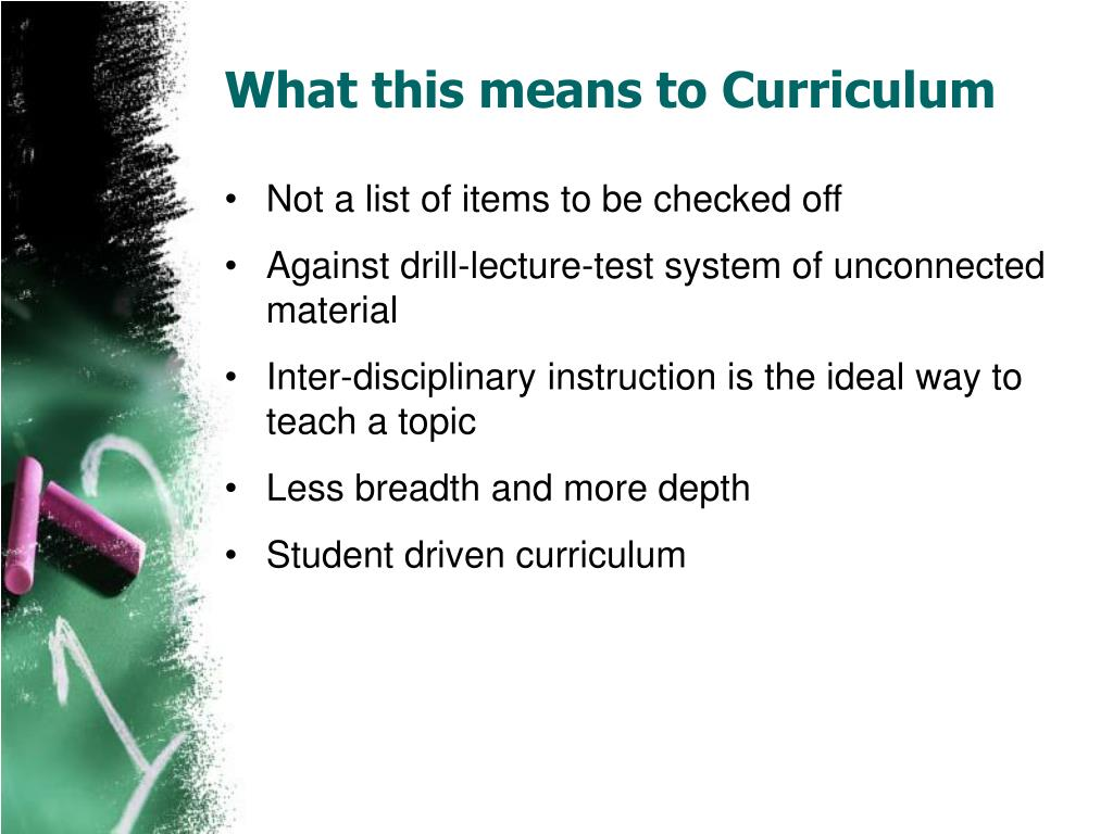 What this means to Curriculum