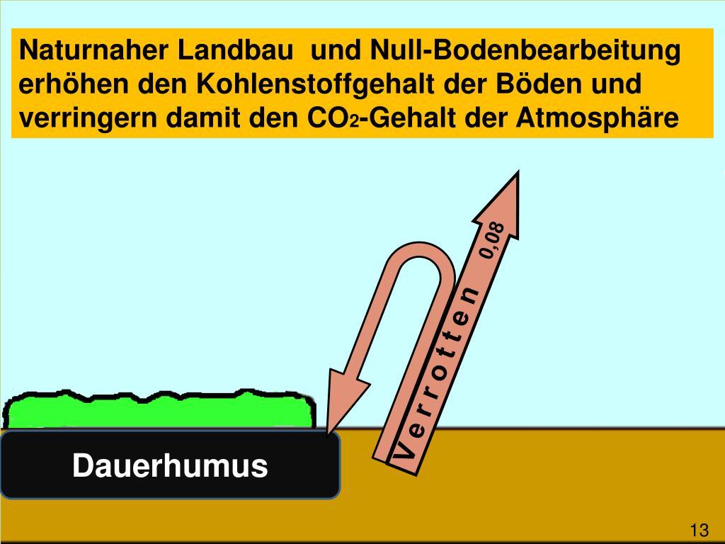 Naturnaher Landbau  und Null-Bodenbearbeitung erhöhen den Kohlenstoffgehalt der Böden und verringern damit den CO