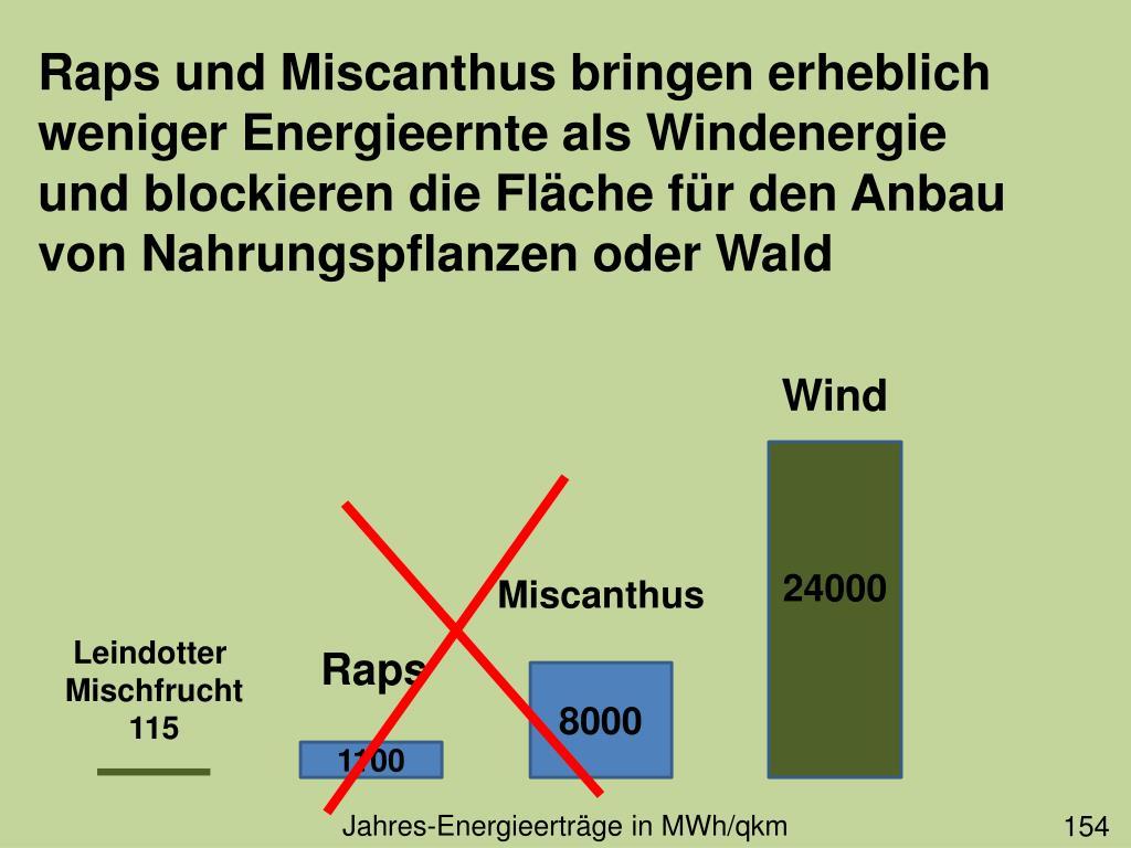 Raps und Miscanthus bringen erheblich weniger Energieernte als Windenergie