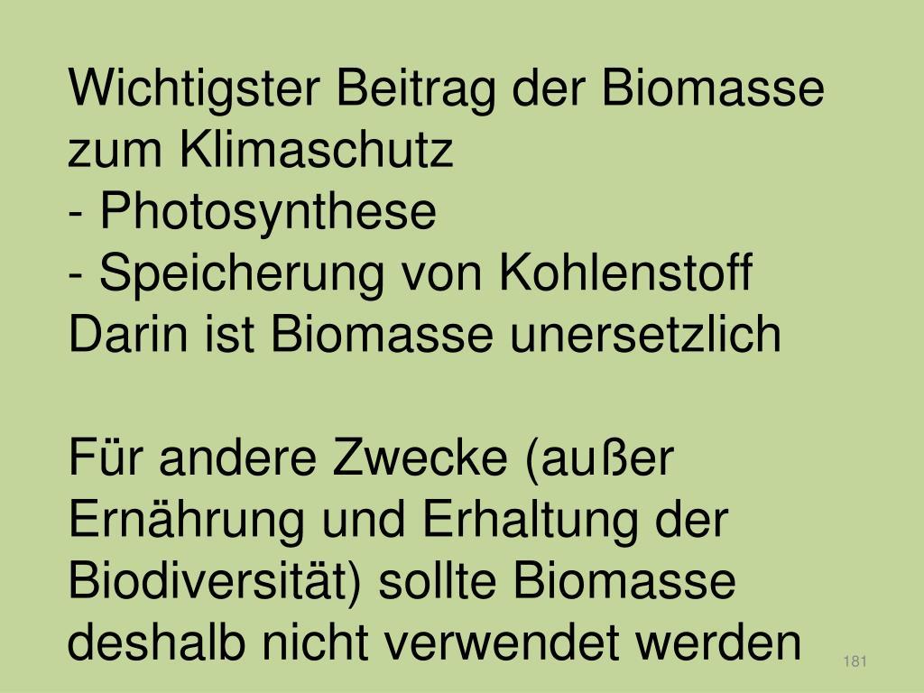 Wichtigster Beitrag der Biomasse zum Klimaschutz