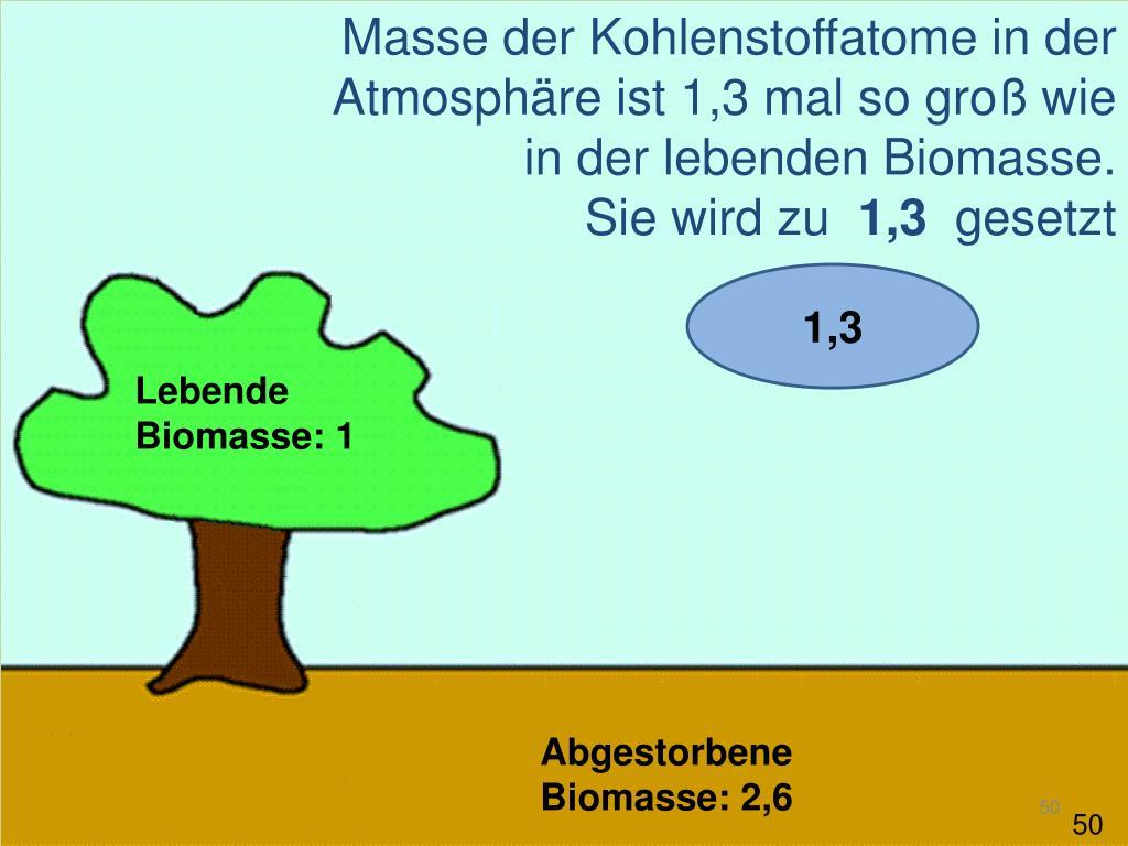 Masse der Kohlenstoffatome in der Atmosphäre ist 1,3 mal so groß wie in der lebenden Biomasse.