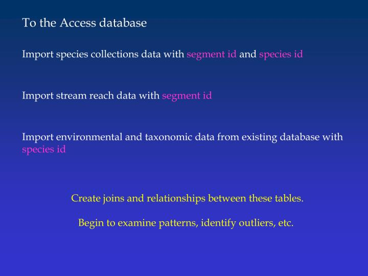 To the Access database