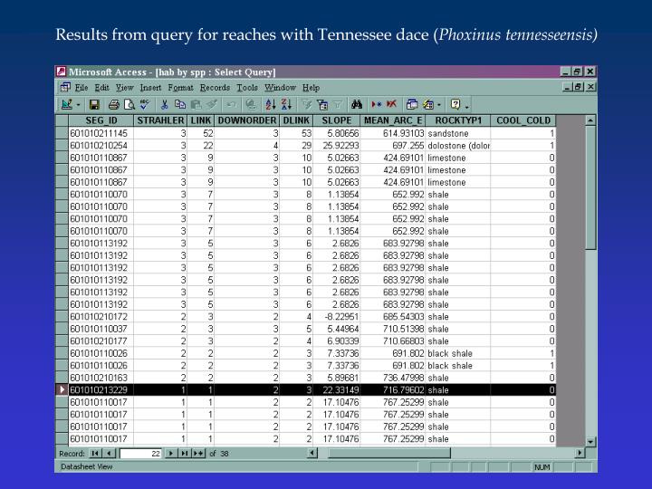 Results from query for reaches with Tennessee dace (
