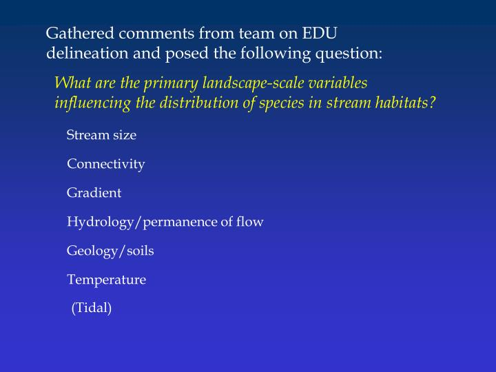 Gathered comments from team on EDU delineation and posed the following question: