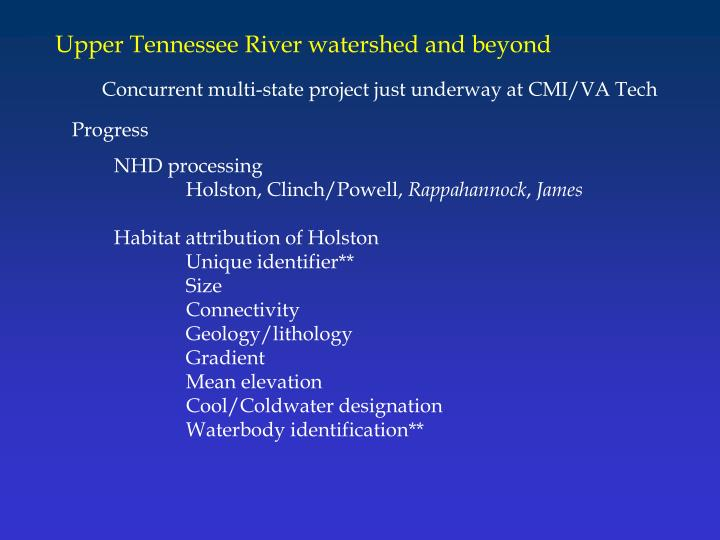 Upper Tennessee River watershed and beyond