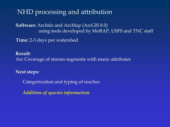 NHD processing and attribution