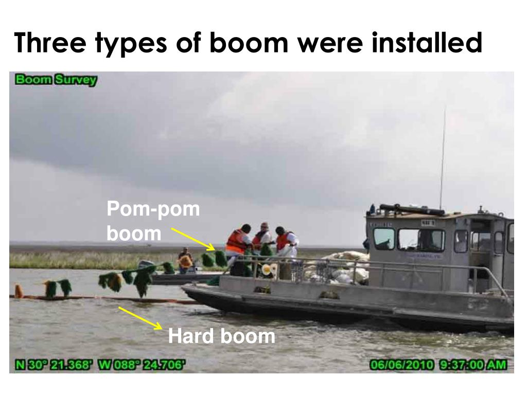 Three types of boom were installed